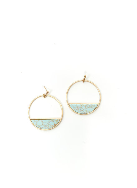 Mint + Major Circle Marble Earrings