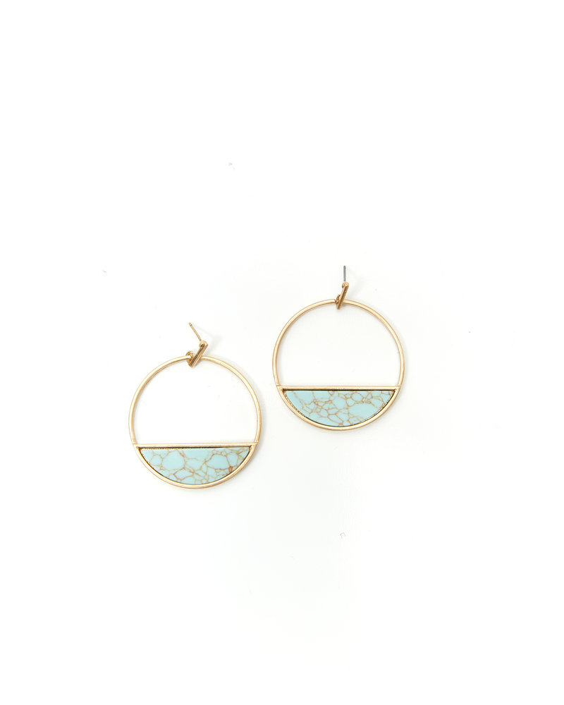 Mint + Major Circle Marble Earrings