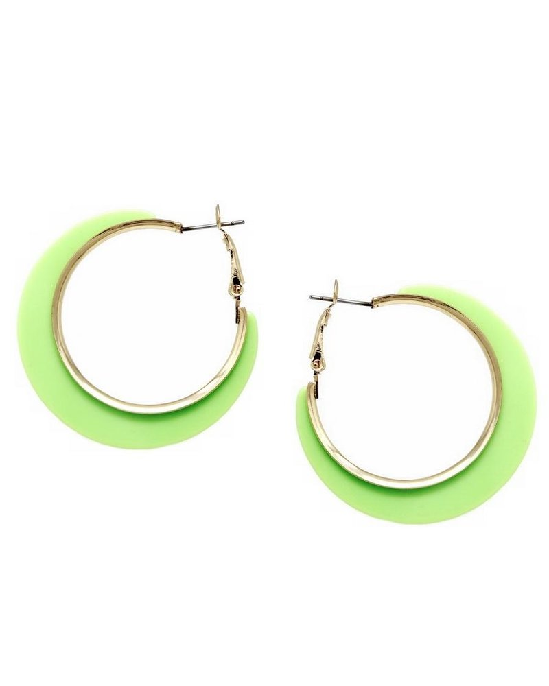 Mint + Major Wide Gold Trim Hoop