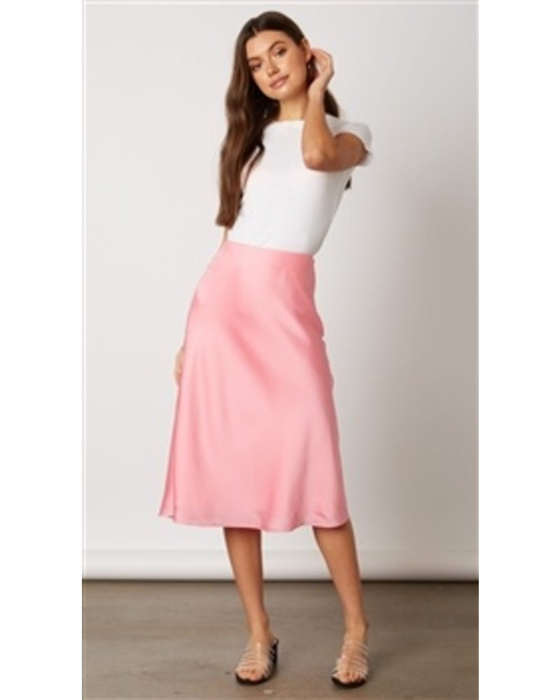 Neon Pink Santin Midi Skirt
