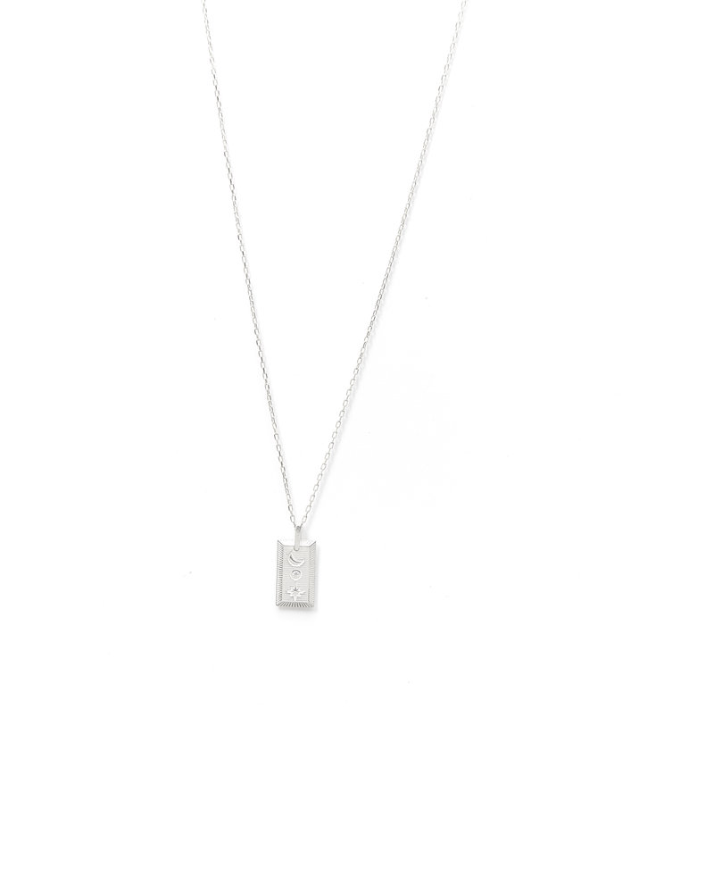 Mint + Major Square Stamp Celestial Necklace