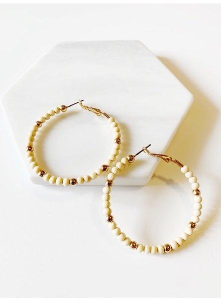 Mint + Major Beaded Wood Earrings