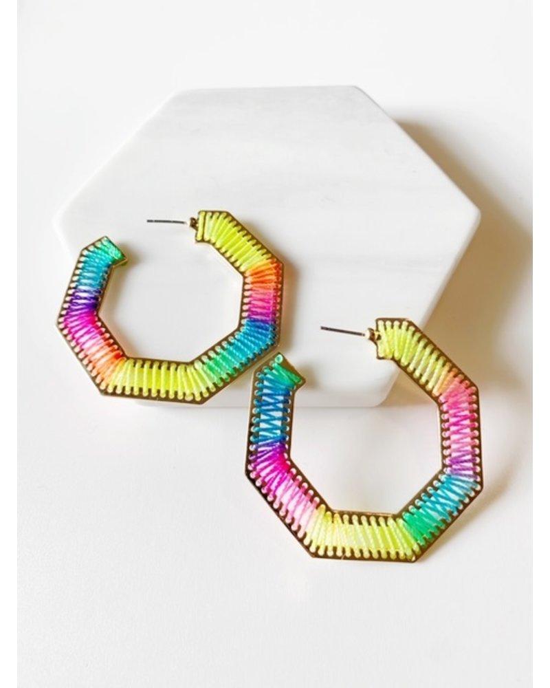 Mint + Major Rainbow Hexagon Hoops