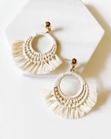 Mint + Major Post Drop Rattan Fringe Earrings