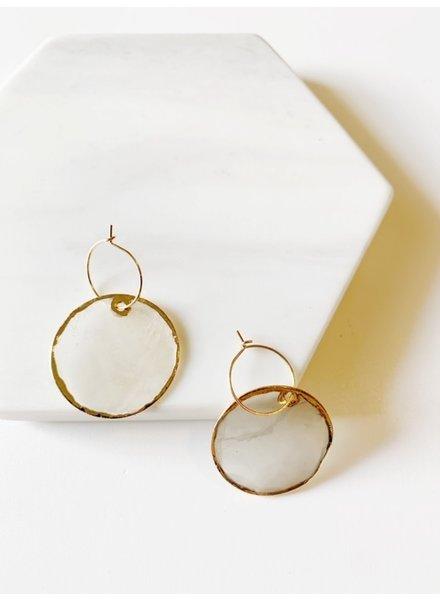 Mint + Major Round Sea Glass Earrings