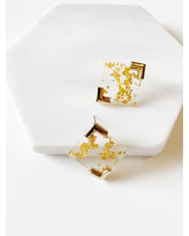 Mint + Major Square Gold Foil Stud