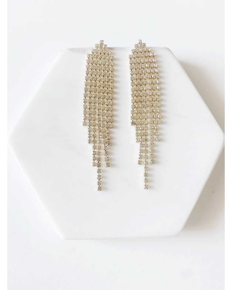 Mint + Major Rhinestone Pave Fringe Earrings