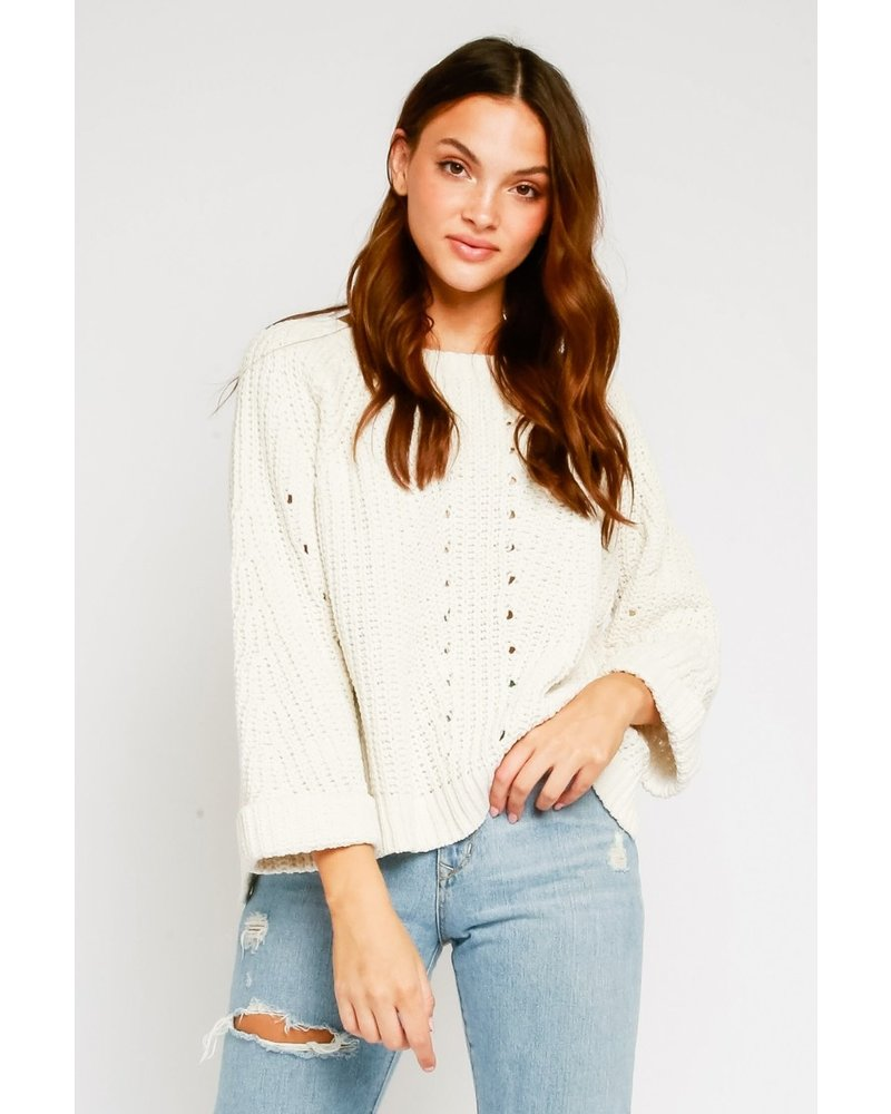Knit Wide Sleeve Cuffed Sweater