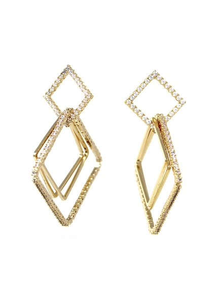 Mint + Major Gold Multi Square Drop Earring