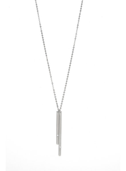 Mint + Major Silver Double Bar Necklace