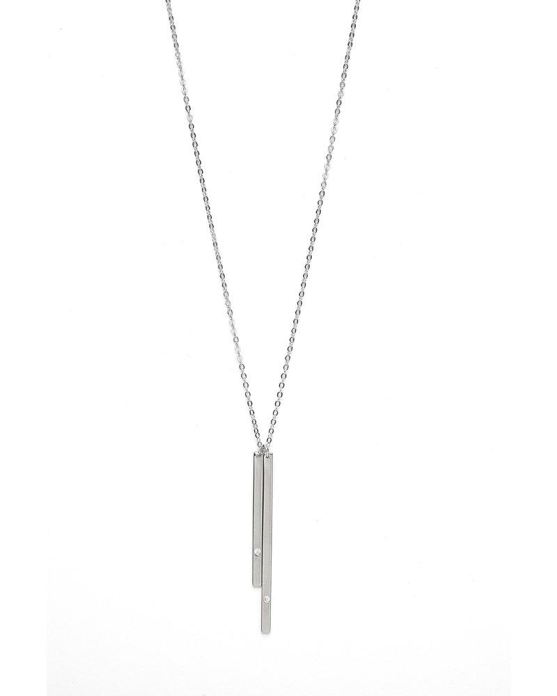 Mint + Major Silver Double Bar Necklace