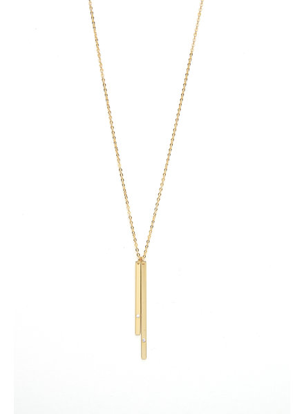 Mint + Major Gold Double Bar Necklace