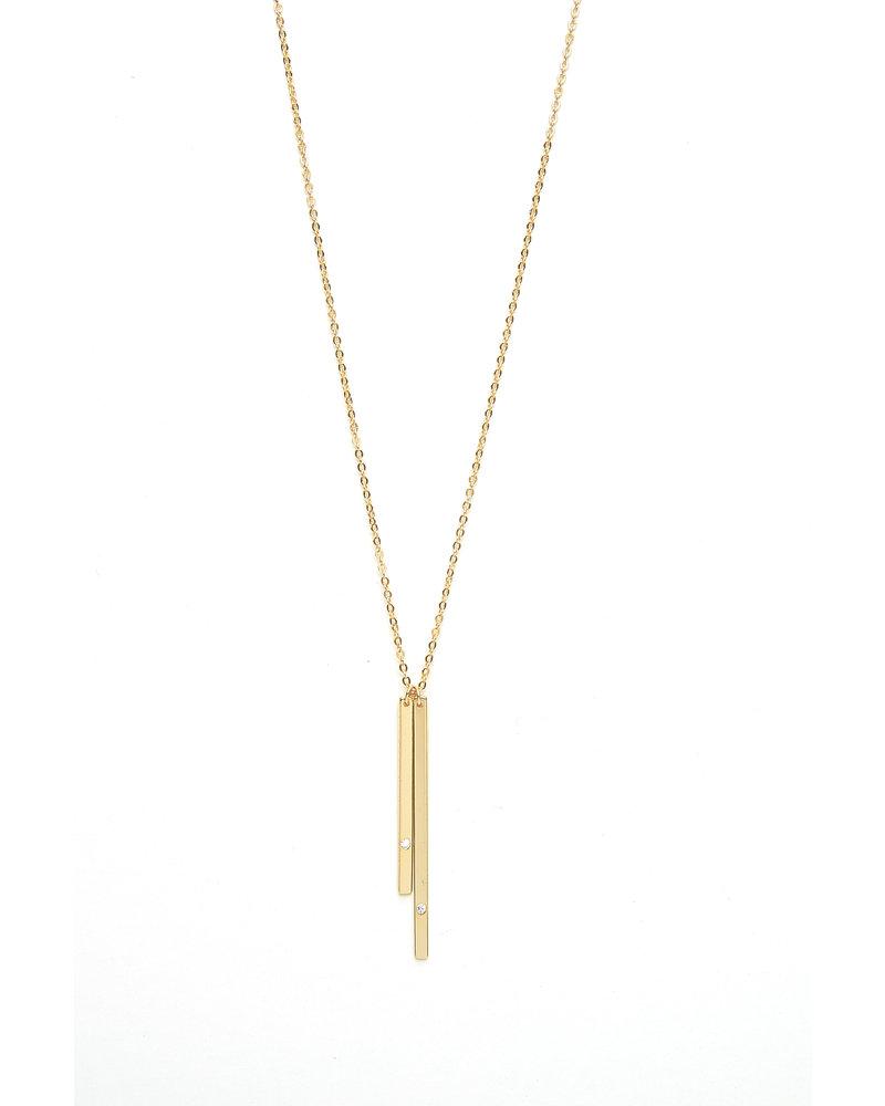 Mint + Major Gold Double Bar Necklace