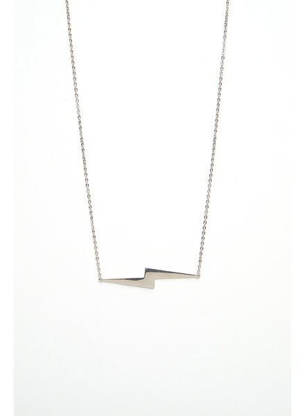 Mint + Major Silver Large Lighting Bolt Necklace