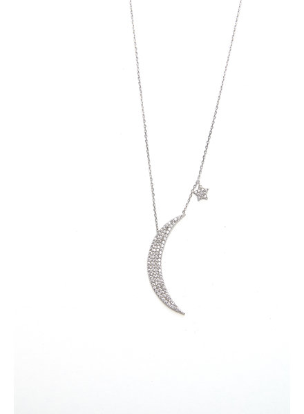 Mint + Major Silver Oversized Moon & Star Necklace