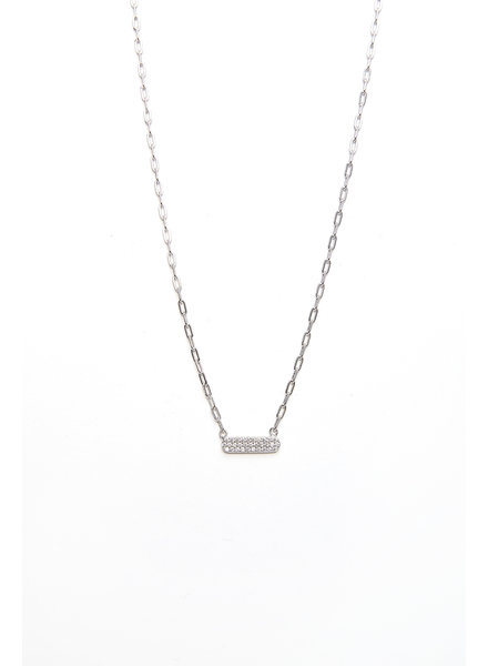 Mint + Major Silver Mini Bar Stone Necklace