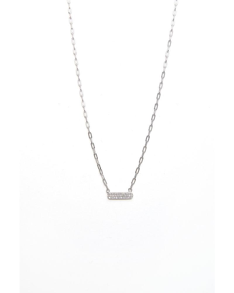 Mint + Major Silver Mini Bar Stone Necklace