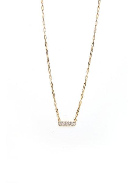 Mint + Major Gold Mini Bar Stone Necklace