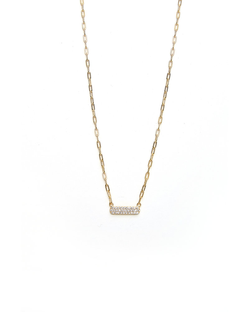 Mint + Major Gold Mini Bar Stone Necklace