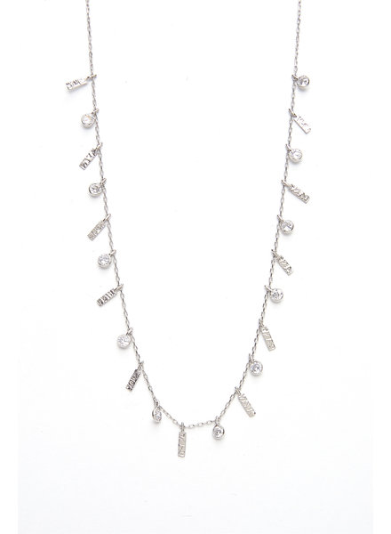 Mint + Major Silver Multi Bar & Stone Necklace