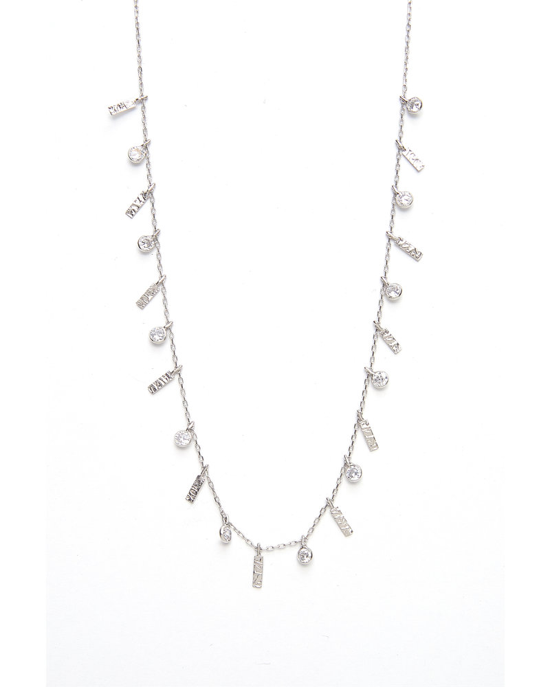 Mint + Major Silver Multi Bar & Stone Necklace