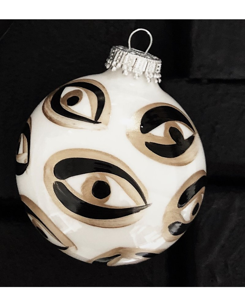Meg Biram White Evil Eye Ornament