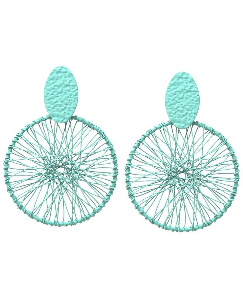 Mint + Major Oversized Spoke Wire Earrings