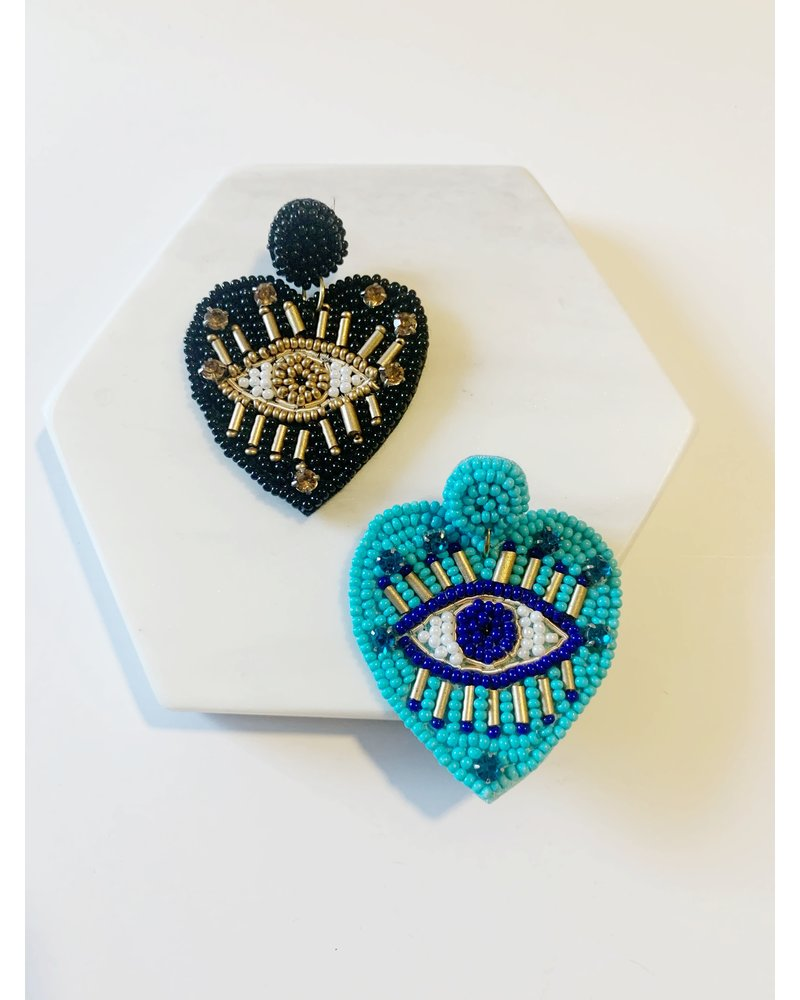 Mint + Major Beaded Heart Eye Earrings
