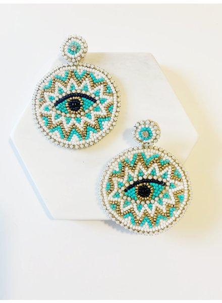 Mint + Major Oversized Beaded Eye Earrings