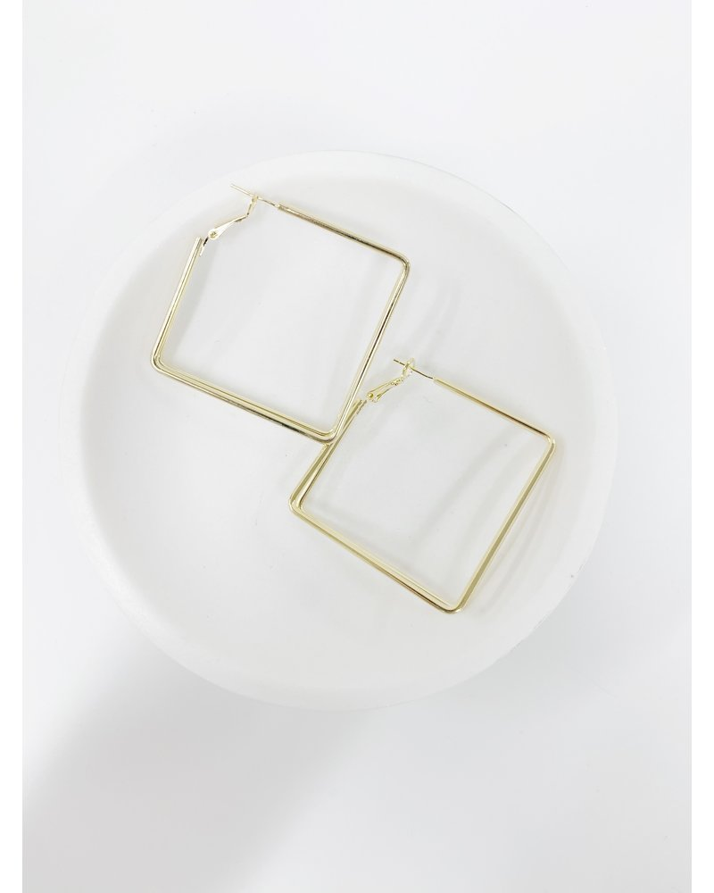 Mint + Major Gold Double Square Hoop