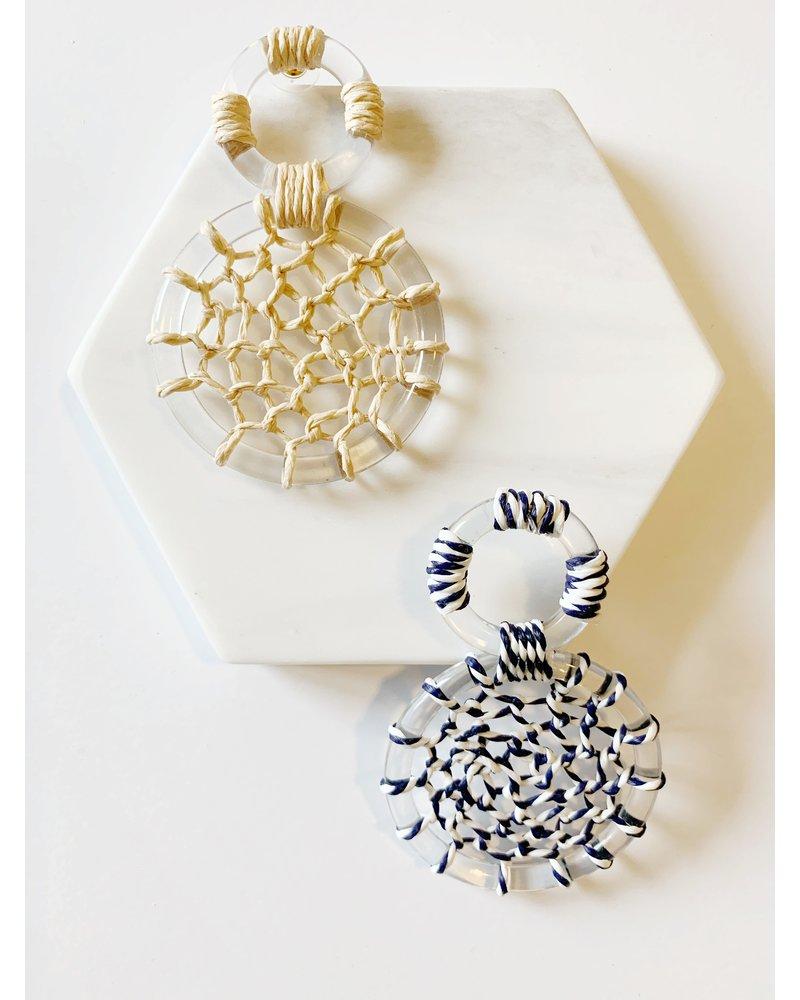Mint + Major Rattan + Acrylic Oversized Earrings