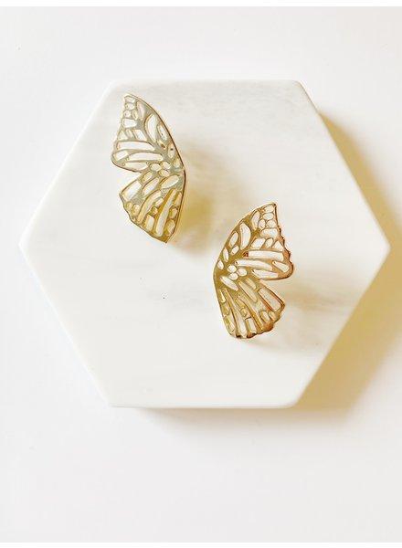 Mint + Major Gold Oversized Butterfly Post