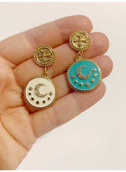 Mint + Major Double Coin Moon Earrings