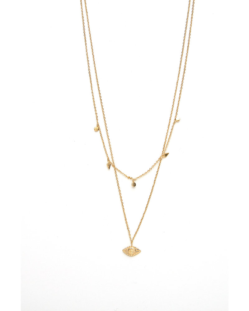 Mint + Major Gold Double Layer Eye Necklace
