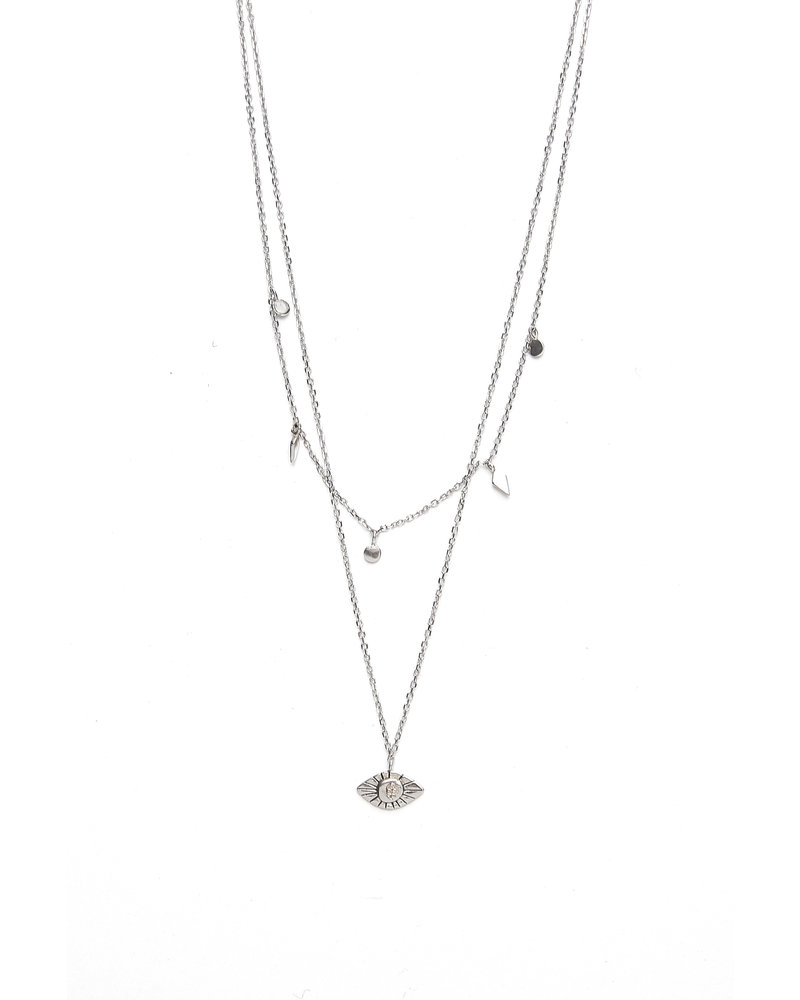 Mint + Major Silver Double Layer Eye Necklace