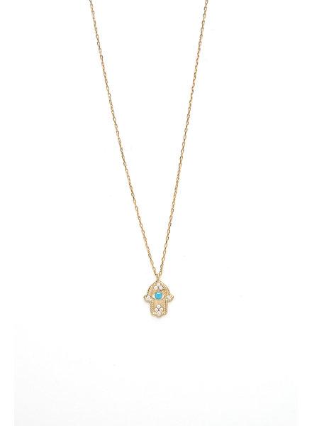 Mint + Major Hamsa & Stone Necklace