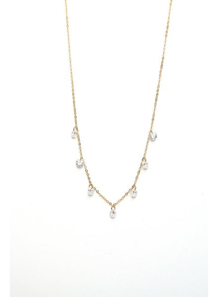 Mint + Major Gold Multi Clear Stone Necklace