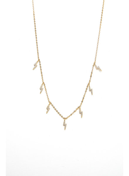 Mint + Major Gold Multi Pave Lighting Bolt Necklace