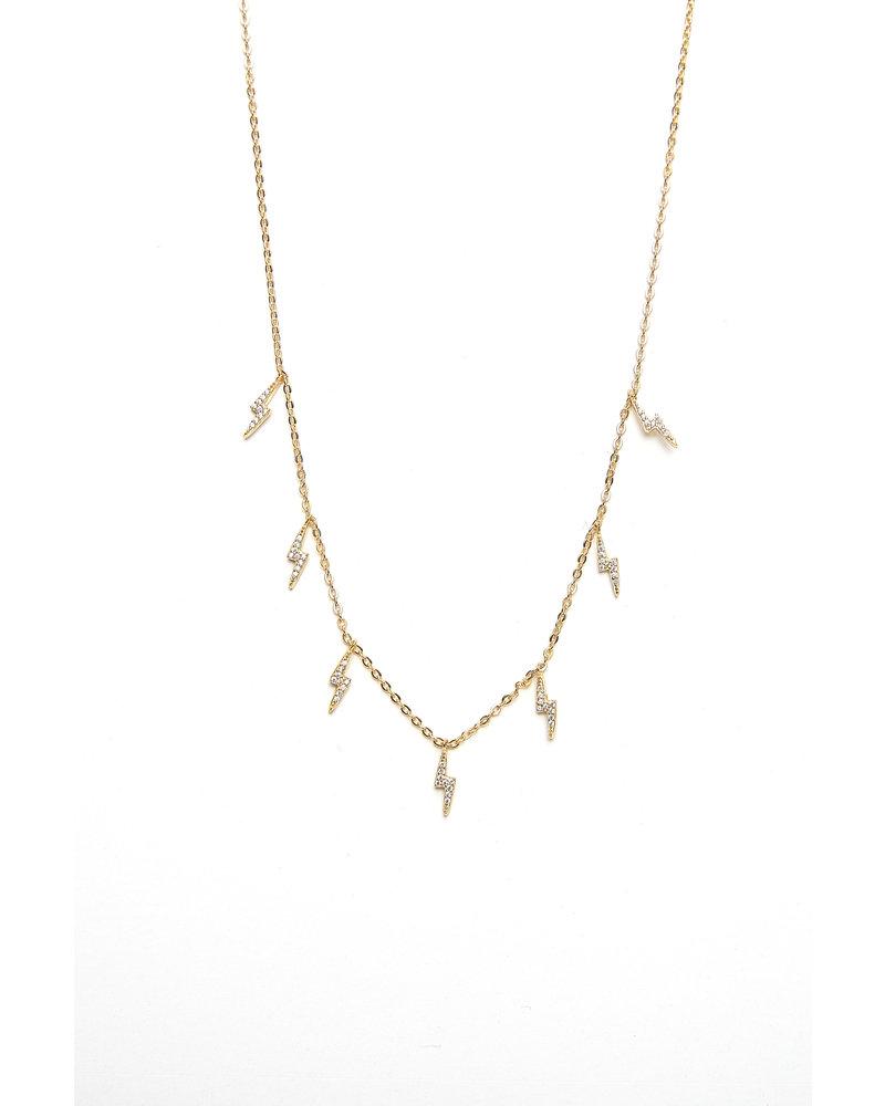 Mint + Major Gold Multi Pave Lighting Bolt Necklace