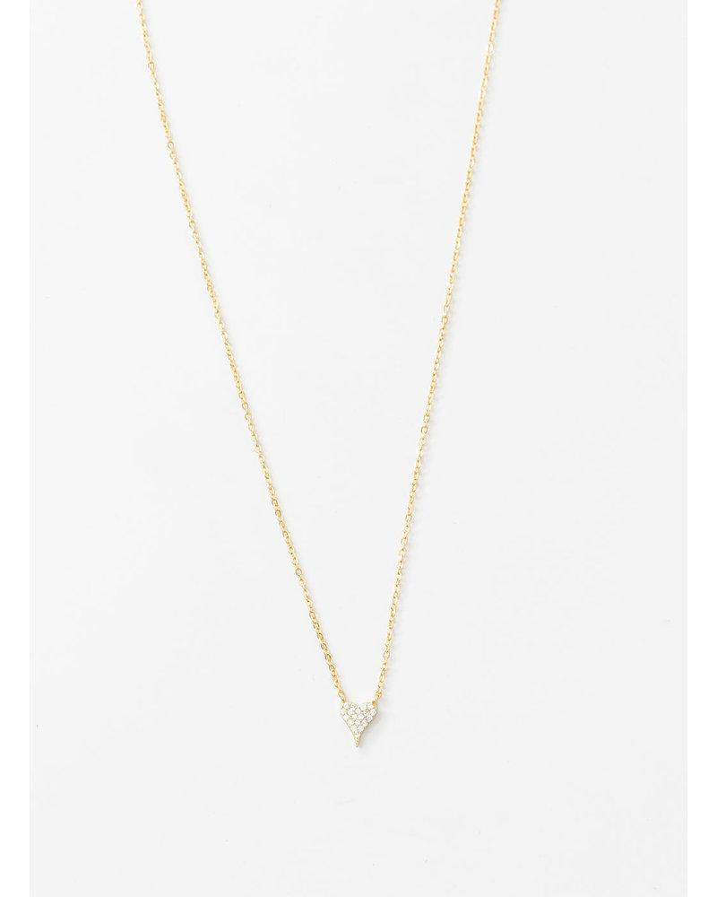 Mint + Major Pave Heart Gold Necklace