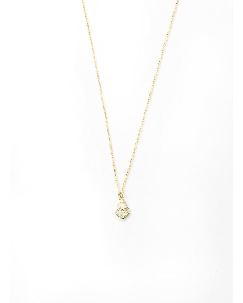 Mint + Major Heart Lock Necklace-Gold