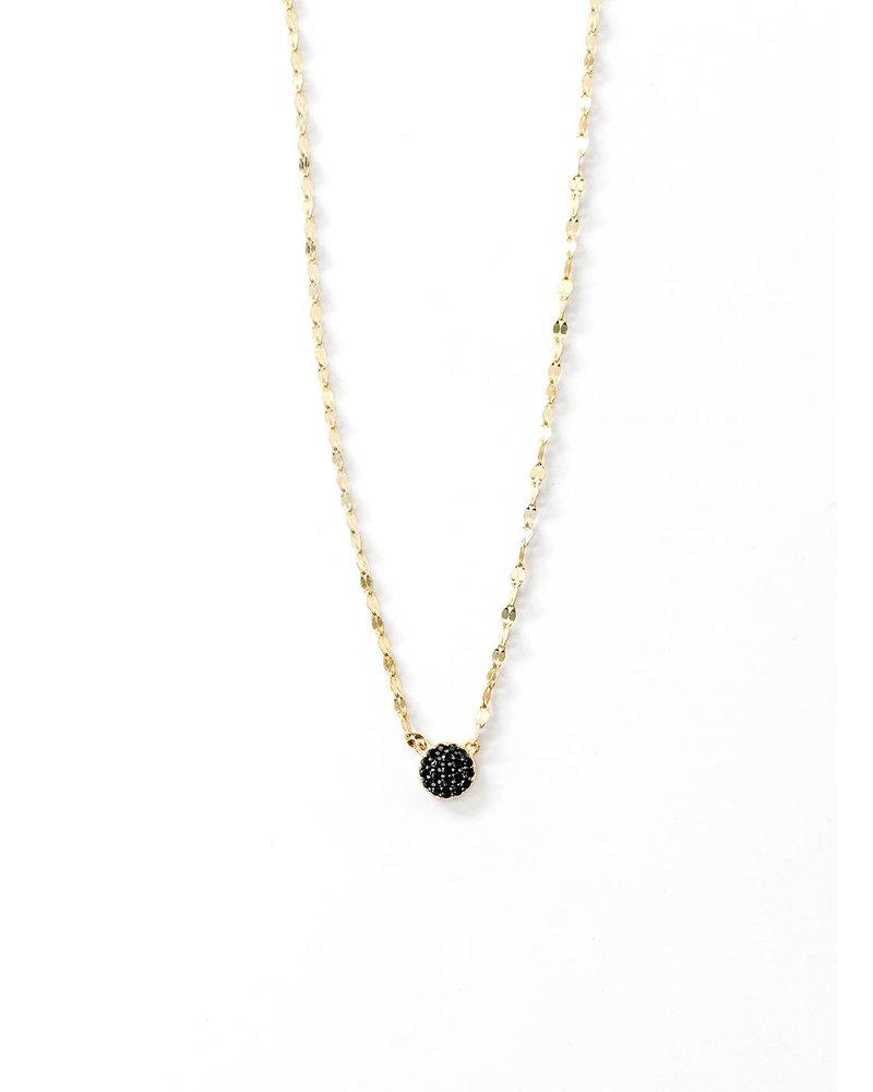 Mint + Major Black Pave Circle Necklace