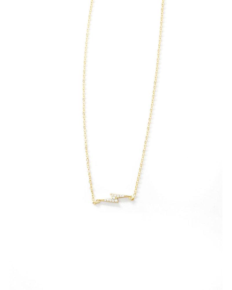 Mint + Major GOLD Pave Lighting Bolt Necklace