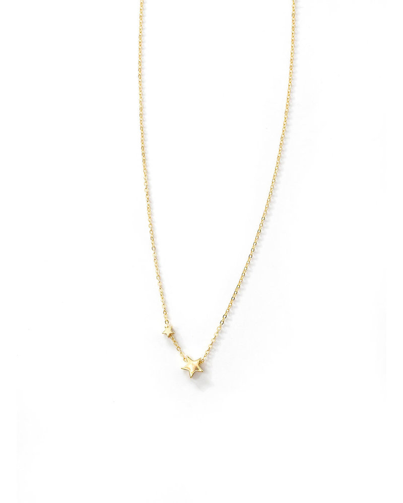 Mint + Major Double Star Charm Necklace- GOLD
