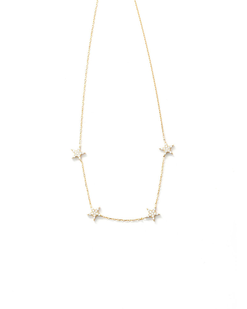 Mint + Major Pave Large Star Necklace-GOLD