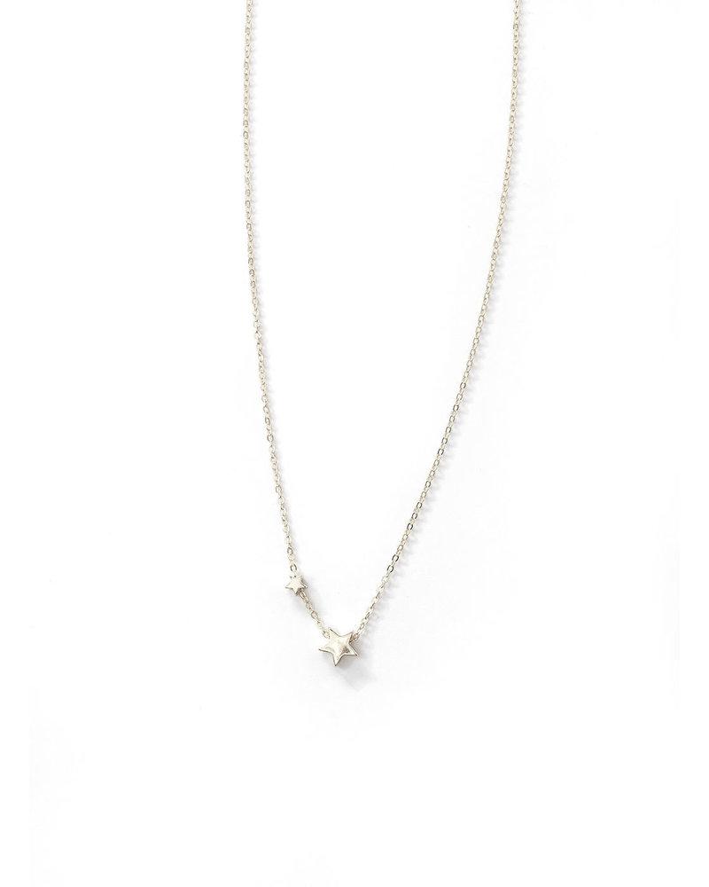 Mint + Major Double Star Charm Neck- Silver