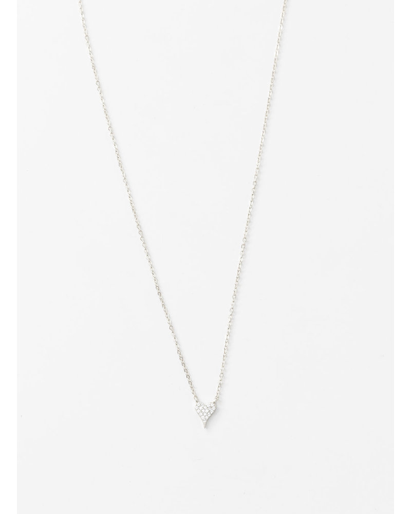 Mint + Major Pave Heart Silver Necklace