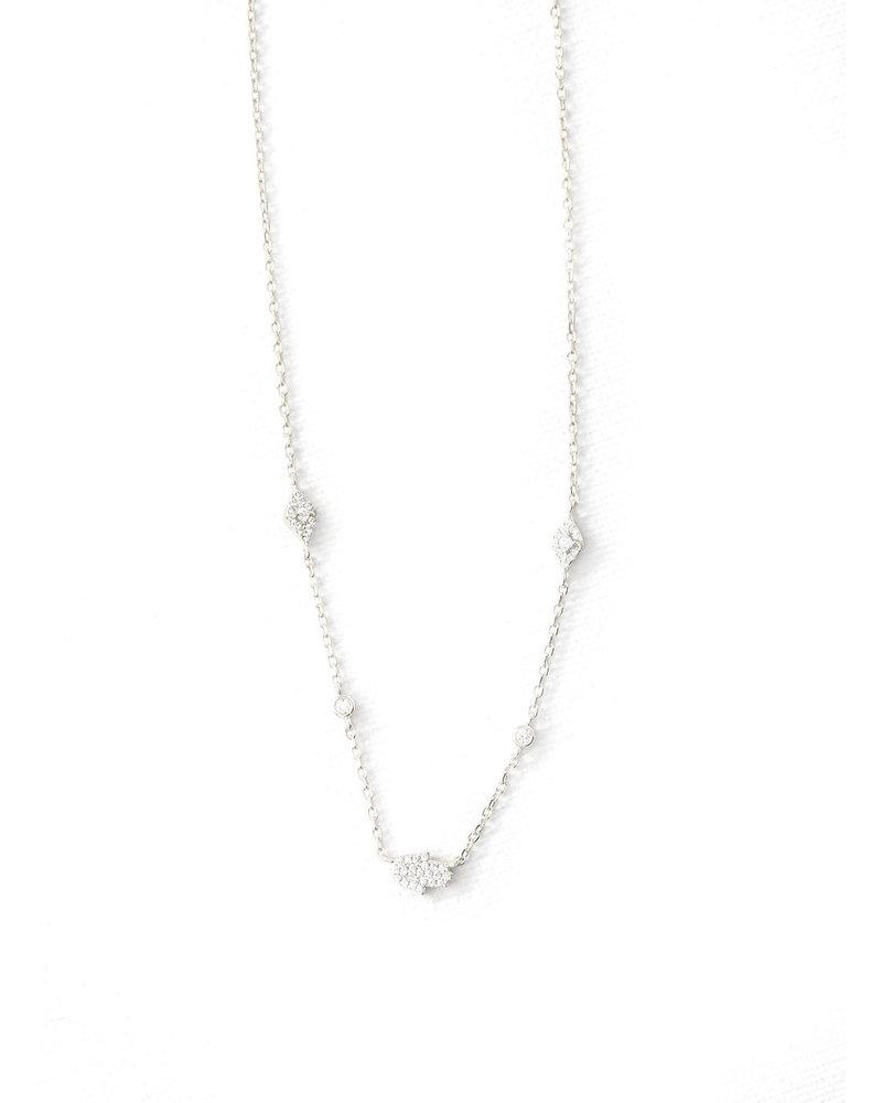 Mint + Major Pave Hamsa + Stone Neck-Silver