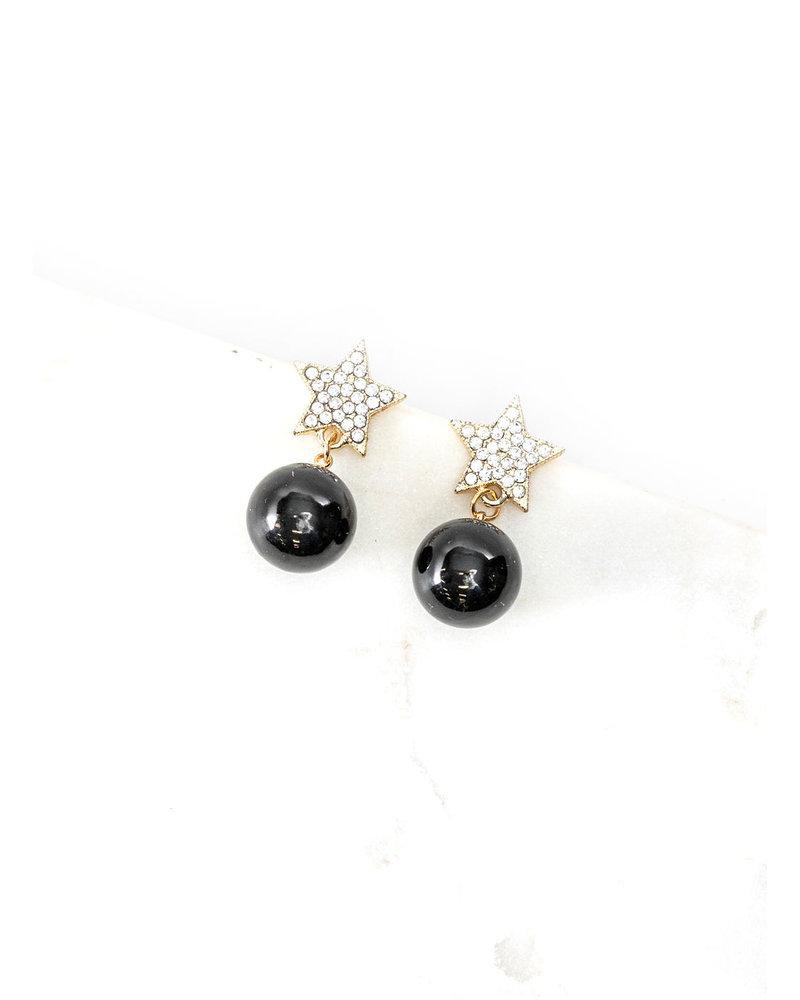 Mint + Major Gold Star + Black Drop Earrings
