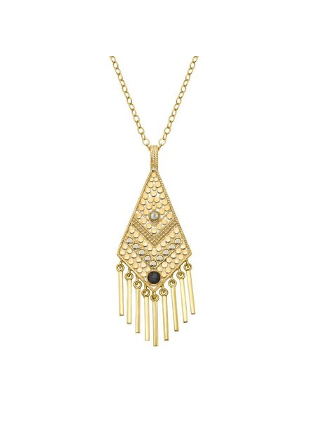 Anna Beck Grey Sapphire & Pyrite Kite Fringe Pendant Necklace
